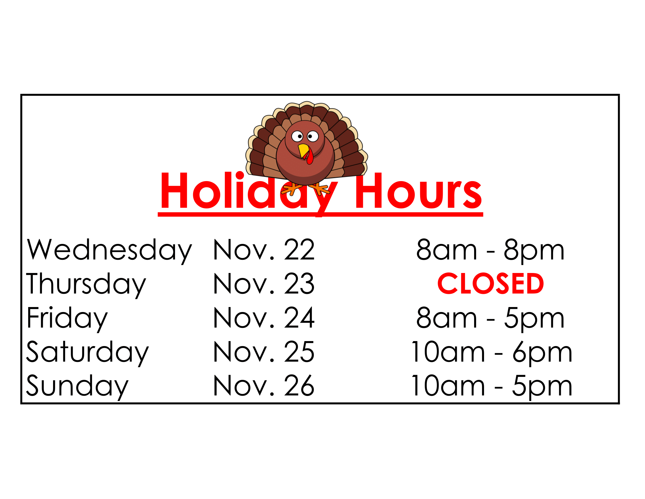 Thanksgiving Holiday Hours at Todd Layne Cleaners