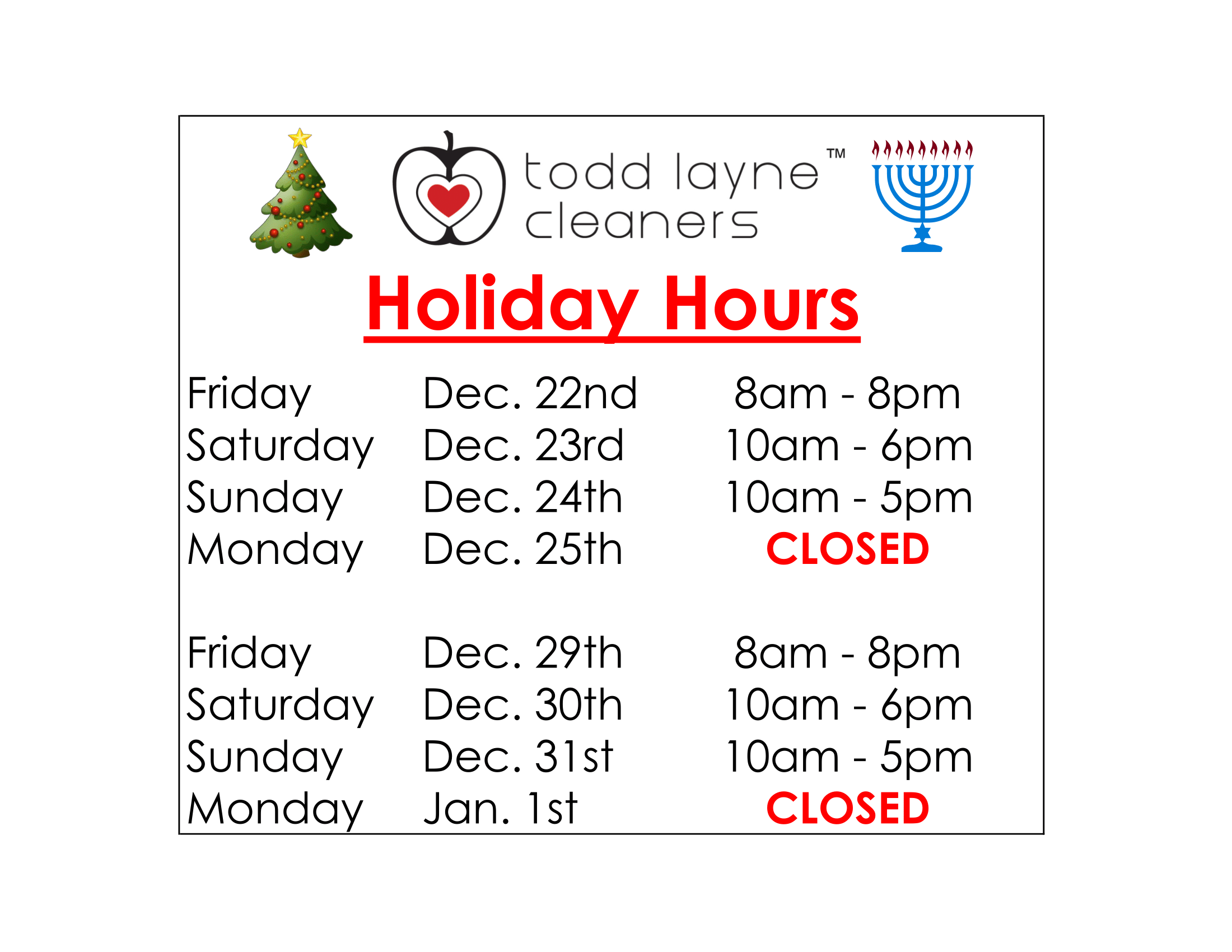 Todd Layne Cleaners Christmas and New Years Eve Hours